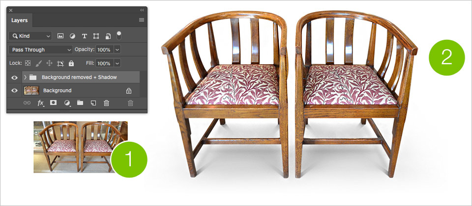 The creation of realistic shadows or reflections using the Shadows & Reflections service